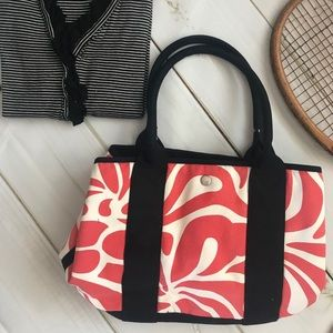 J Crew Coral red & navy Tote